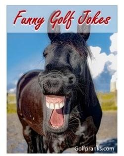 Black Horse laughing at funny golf jokes